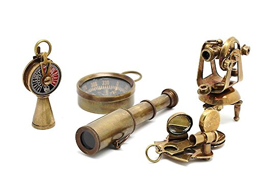 Nautical Gift Set-Miniature Telescope,Theodolite,Telegraph,Sextant,Compass/Accessorize a Steampunk Outfit