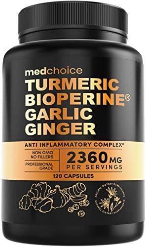 4 in 1 Turmeric Curcumin w Bioperine 2360mg 120 ct 95 Curcuminoids Ginger Root Garlic Pills product image