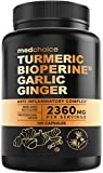 4-in-1 Turmeric Curcumin w Bioperine 2360mg (120 ct) | 95% Curcuminoids, Ginger Root, Garlic Pills, Black Pepper | Anti Inflammatory Joint Pain Heart Health | Made in The USA