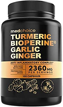 4-in-1 Turmeric Curcumin w Bioperine 2360mg  120 ct  | 95% Curcuminoids Ginger Root Garlic Pills Black Pepper | Anti Inflammatory Joint Pain Heart Health | Made in The USA  120 Count  Pack of 1