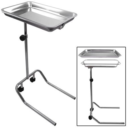 Professional Medical Mayo Stainless Steel Instrument Stand U-Shaped Base w/ Removable Tray Single Post for Durable Patient Surgical Procedures Home Office