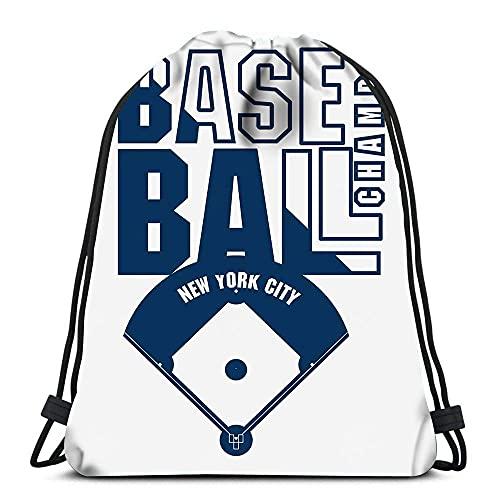 LZ-ZJ Cinch Taschen Baseball Mode Stempel New York Sport Athletic Tragbare Schultertaschen Reise Sport Gym Bag Casual Drawstring Taschen Kordelzug Rucksack Cinch Taschen Tagesrucksack Reisen