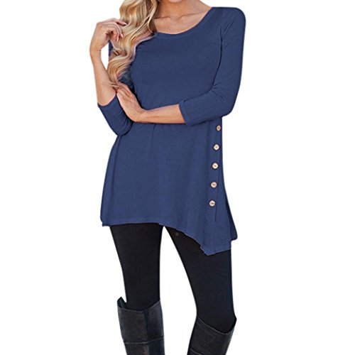 Minisoya Women Long Sleeve Casual Loose Button Blouse Irregular Tunic Long Tops Shirt (Dark Blue, XL)