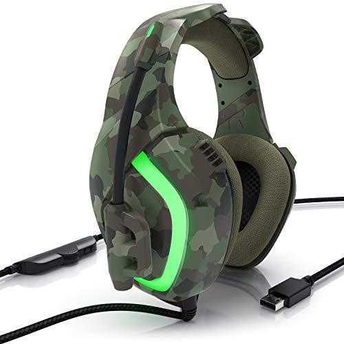 CSL - PC Gaming Headset für PS4 PS5 PC Mac - Rauschunterdrückung - Over-Ear - LED Beleuchtung und Kabelfernbedienung - USB Leicht Kopfhörer für mehr Spielspaß - Camouflage