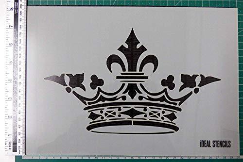 Antik Krone Schablone - Wiederverwendbare Schablone Hergestellt aus Waschbar Plastik - Farbe Design auf Wände, Stoff, Möbel Blatt Größe Ist 21x30cm