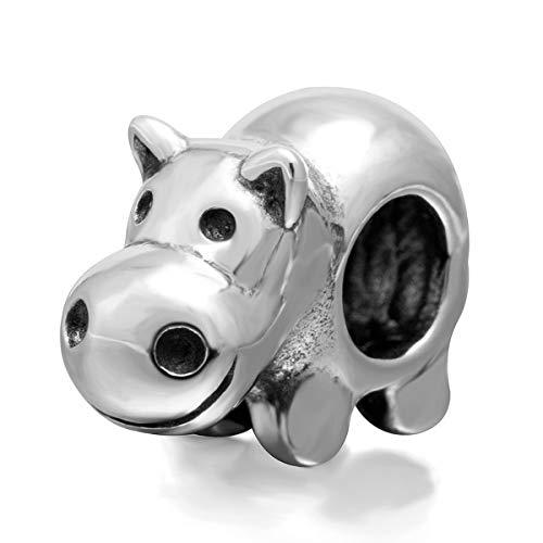 Eternalll Jewellery Original 100% 925 Sterling Silver Charm Bead Love Animal Charm Family Birthday fit Pandoras Bracelets DIY Charms (Hippo Charm)