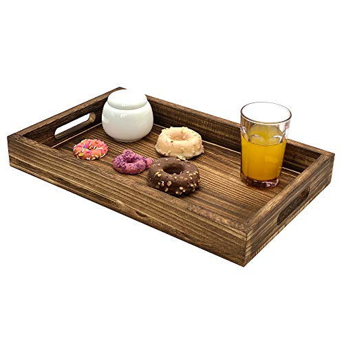 HeyMal Large Serving Tray Wooden Rustic Serving Platter 165 x 10 Inch Rectangle Serving Tray with Handles Fruit Food Breakfast Coffee Cupcake Decorative Dinner Party