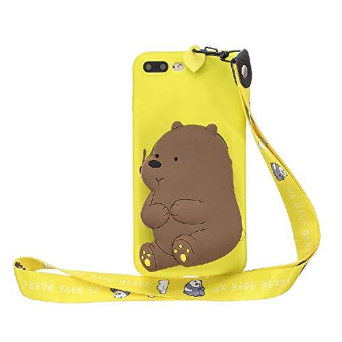 JZ Cartoon Wallet Funda For para iPhone 8 Plus / 7 Plus Silicone Soft Funda with [Long Wrist Strap] - Yellow-Bear