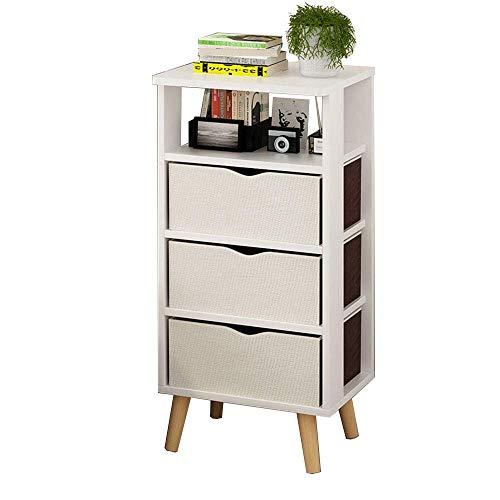 Carl Artbay Home&Selected Furniture/nachtkastje met 2 laden Locker Sofa Bijzettafel Hoektafel 37 x 30 x 75cm (kleur: wit)