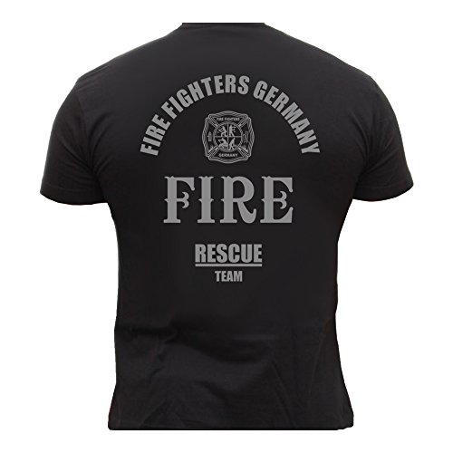 Rescue Point Firefighter Fireman Feuerwehr Herren T-Shirt KF3DE (Schwarz, XL)