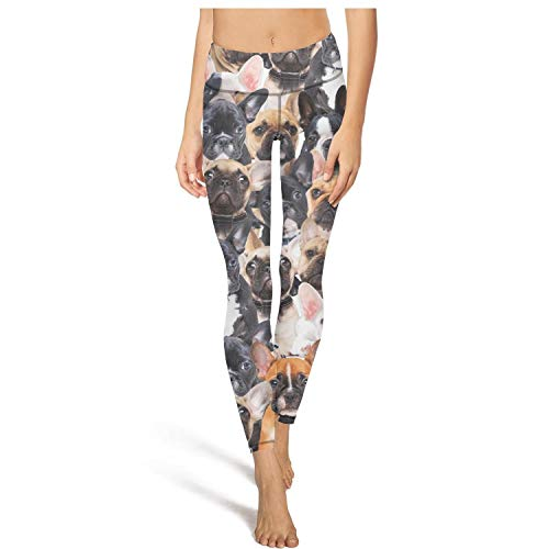 PLOKINC Yoga Pants for Women for Womens Printed Yoga Cute Dog French Bulldog Sport Workout Running Legging Opaque Tights