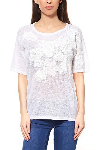 Ashley Brooke by Heine Pailettenpullover Damen Pullover Shirt Weiß, Größenauswahl:36/38