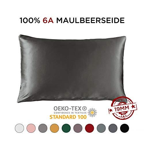THXSILK 100% 19 Momme Seide Kissenbezug Kissenhülle mit Reißverschluss - Seide Kissen Bezug - Super Weich und Glatt Seide Kopfkissenbezug (40x80cm, Dunkel grau)
