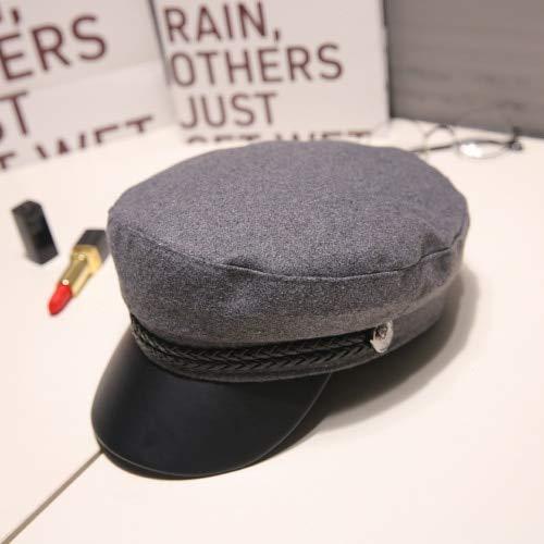 WAZHX Moda Unisex in Pelle Pu Cappello Militare Autunno Cappelli da Marinaio per Donna Uomo Nero Grigio Piatto SuperioreCappello da Cadetto da Viaggio Femminile Capitano Berretto Grigio Lana