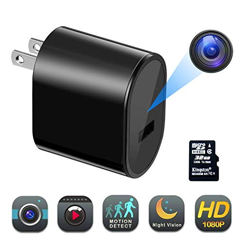 sherry Wall Charger Hidden Camera with 32G SD Card Full HD Spy Camera...