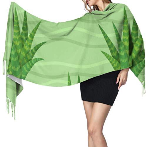 Green Cute Fresh Fashion Plant Aloe Large Wrap Mantón Bufanda de cachemira grande Bufandas para mujer Cashmere 77x27inch / 196x68cm Large Soft Pashmina Extra Warm