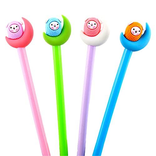 Bolígrafos de gel con forma de cordero, para papelería, oficina, material escolar, 0,5 mm, color negro y azul (5)