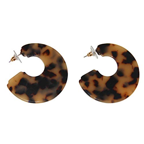 KUNGYO Damen Mode Ohrringe - Gesprenkelt C-Form Hälfte Creolen Ohrring für Frauen Leicht Hautfreundlich Acryl Ohrringe (Leopard)