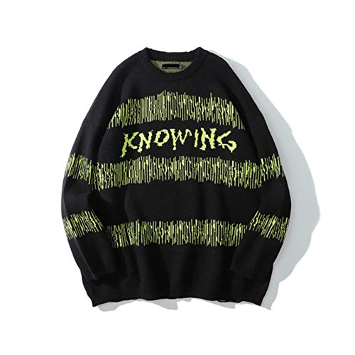 Original Letter Print Striped Color Match Sweaters Men and Women O Neck Oversize Sweater Pullover Streetwear Sweater