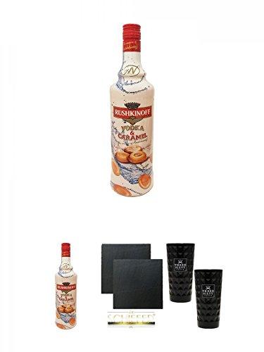 Rushkinoff Vodka & Caramel 1,0 Liter + Rushkinoff Vodka & Caramel 1,0 Liter + Schiefer Glasuntersetzer eckig ca. 9,5 cm Ø 2 Stück + Three Sixty black Vodka Glas 2 Stück (black)