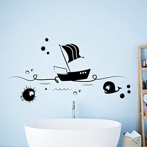 mlpnko Sea Boat Fish Tatuajes de Pared Escena Animal niños Vinilo Adhesivo de Pared decoración del hogar 85X45cm