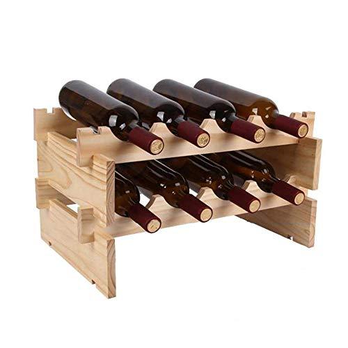YXB Estante de Madera para Vino, Estante de Almacenamiento de Vino de Mesa apilable para 4 Botellas, Soporte para Vino de...