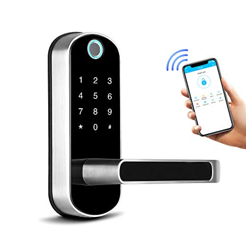 Smart Lock,Bluetooth Enabled Fingerprint and Touchscreen Electronic Door Lock|Smart Phone App Unlock|Keyless Entry|Auto Lock|for Home Office Apartment Hotel Garage School