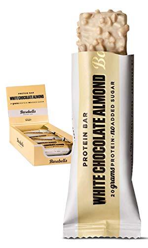 Barebells Proteinriegel 55g x 12 White Chocolate Almond Proteinreich Kohlenhydratarm Kaum Zucker 20 Gramm Protein pro 55-Gramm-Riegel Köstliche Proteinriegel für Muskelaufbau und -regeneration