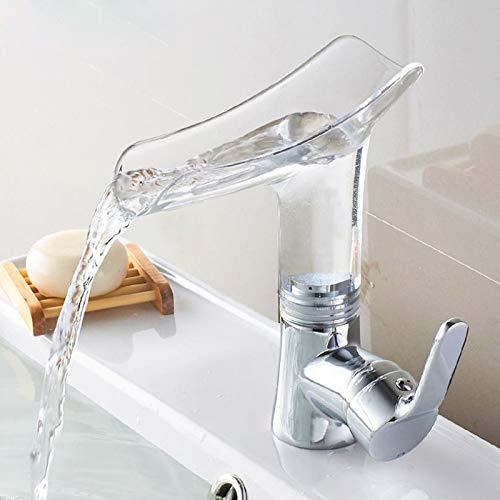 FATTERYU Elegante grifo transparente de lujo para la cocina cuarto de baño cascada grifo de alta calidad Artistry