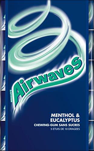 AIRWAVES - Menthol Eucalyptus - 5 Paquets de 10 dragées de Chewing-Gum sans sucres