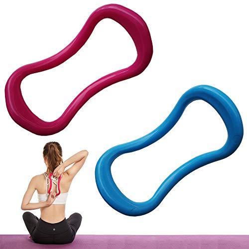 Anillo de Estiramiento de Fascia, 2 Piezas Círculos de Pilates de Anillo de Yoga, Anillo de Estiramiento Fitness para Masaje de Muslos y Pantorrillas, Entrenamiento de Estiramiento (Azul y Rojo Rosa)