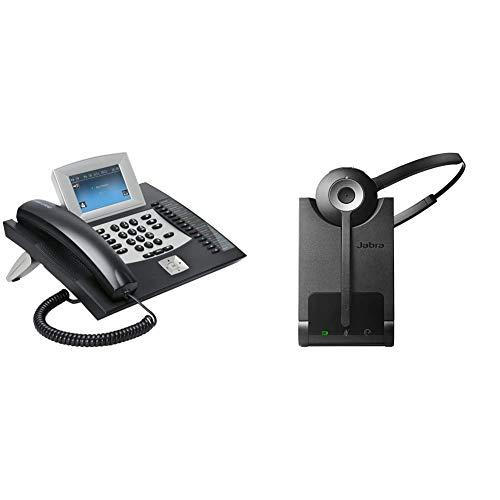 Auerswald COMfortel 2600 Telefon mit Anrufbeantworter und Freisprecheinrichtung (10,9 cm Farbdisplay, SD-Kartenslot, USB) schwarz & Jabra Pro 920 DECT Kabelloses On-Ear Mono Headset - EU-Stecker