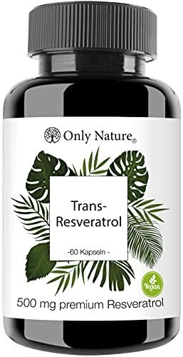 Einführungspreis (NEU): Only Nature® Resveratrol 500mg hochdosiert - 60 laborgeprüfte Kapseln - vegan - ohne Zusätze - in Deutschland produziert - Trans Resveratrol
