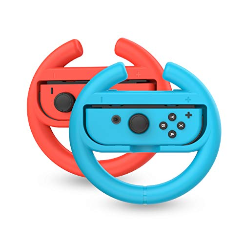 TalkWorks Steering Wheel Controller for Nintendo Switch (2 Pack) - Racing Games Accessories Joy Con Controller Grip for Mario Kart, Blue/Red Combo