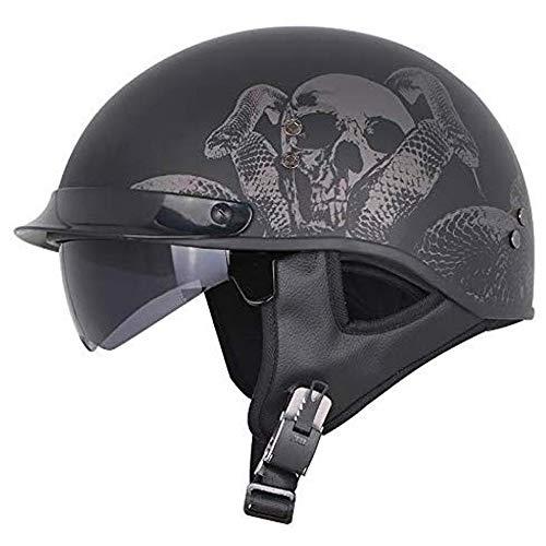 JIEKAI Halber Helm Motorradhelm, Vintage Harley Helme Mit Brille Geeignet Für Männer Und Frauen Bike Cruiser Scooter, Roller-Helm Mofa-Helm Jet-Helm DOT-Zulassung,Matt Black A-M(55-56cm)