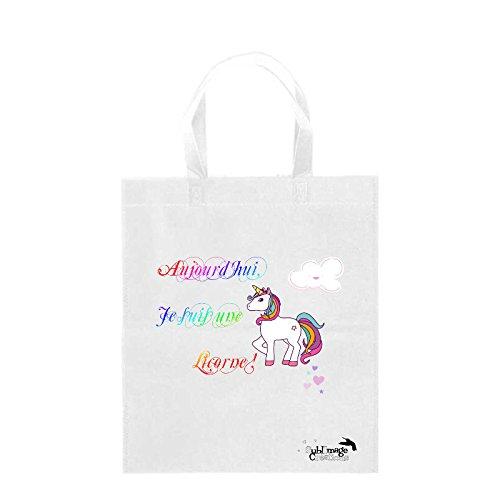 Sublimagecreations Tote Bag Licorne, Aujourd'hui Je suis Une Licorne, Sac Course, idée Cadeau, Sac Shopping, cabat