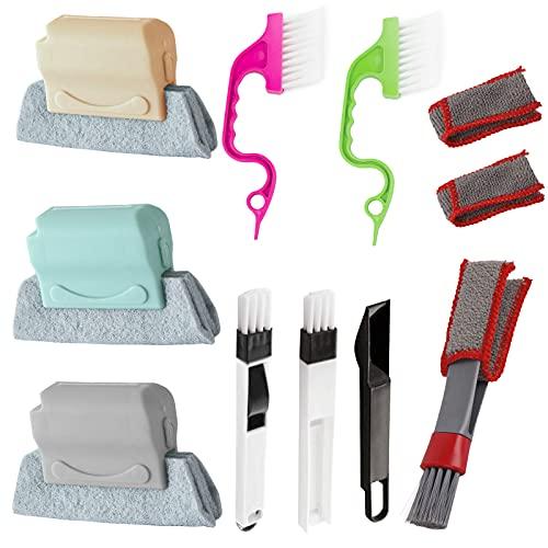 Merysan - Spazzole per la pulizia delle scanalature per finestre, strumenti di pulizia a mano, con cuscinetto di ricambio, multiuso per tastiera, porta scorrevole e binario per piastrelle