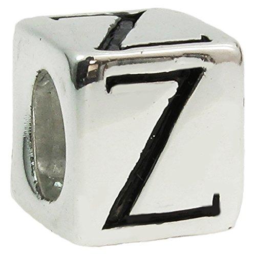 Queenberry-Ciondolo a forma di cubo, lettera europea, elegante, color perla, stile e Argento, colore: Letter Z, cod. PA1152W-ZX1