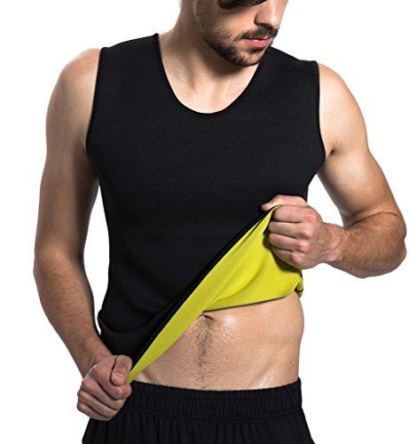Roseate Men's Body Shaper Hot Sweat Workout Tank Top Slimming Sauna Vest Neoprene Compression Thermal Shirt L