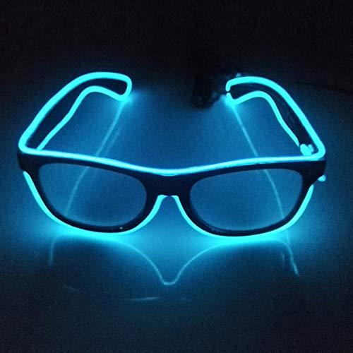 Glaray Light Up LED Brille Neuheit Leuchtende Gläser Einstellbar EL Wire Neon Rave Brillen (Blau)