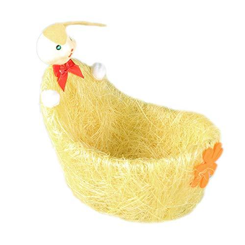 SUPVOX Ostereierkorb Easter Baskets Osterei-Korb-Süßigkeitskorb mit Kaninchen- und Blumen-Dekoration