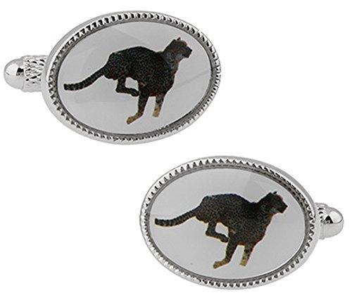 Boutons de manchette ovales en guépard dans une boîte de présentation de luxe gratuite. Bijoux fantaisie thème chat animal