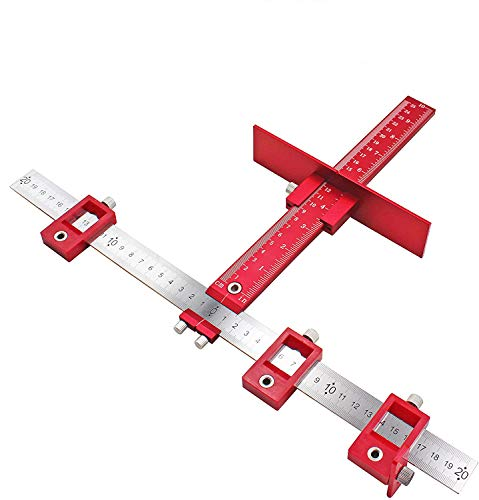 Quick-Set Cabinet Drilling Jig/Template for Easy Installation for Handles and Knobs on Doors and Drawer Fronts,Fastest and Most Accurate Knob &Pull Jig-red Stainless Steel