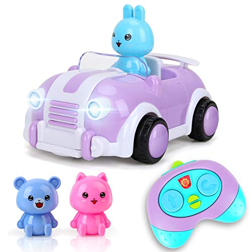 BeebeeRun Coche teledirigido niños 2 años,Juguetes niños 2 años,Música y Luces,Púrpura …