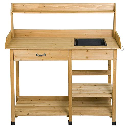 Yaheetech Potting Bench Outdoor Garden Work Bench Station Planting Solid Wood Construction w/Sink...