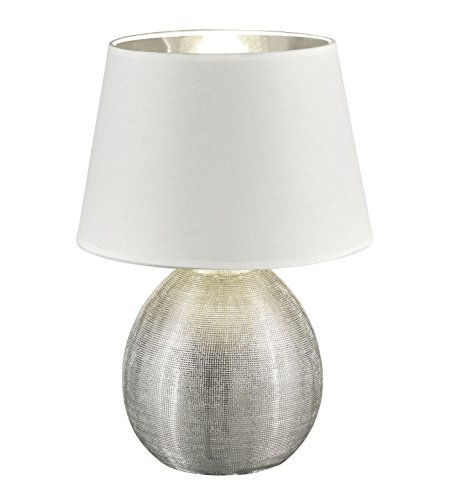 Reality Leuchten r50631089Luxor, lampada da tavolo, Ceramica, E27, Argento, 24x 24x 35cm