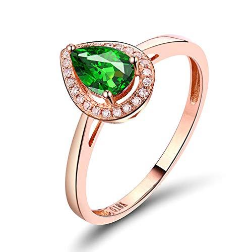 Daesar Anillos de Compromiso Mujer Oro Rosa 18,Gota de Agua Tsavorita Verde 0.6ct Diamante 0.07ct,Oro Rosa Verde Talla 9,5