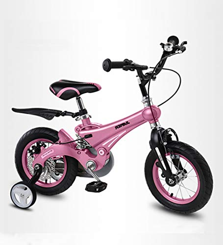 SXMXO 2-12 Jahre Kinderfahrräder 12/14/16 Zoll Laufrad Mädchen Pink mit Stützräder und Rücktritt Scheibenbremse aus Magnesiumlegierung Sehr leichtes Kinderfahrrad,14inches