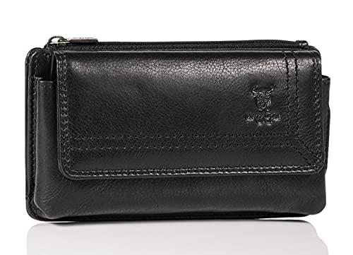 MATADOR Echt Leder Universal Handy-Tasche Holster Gürteltasche Magnetverschluss Quer für Handys bis 6,9 Zoll inkl. Geschenk-Box (Black)