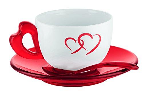 Guzzini Love Set 2 Tazze Cappuccino con Piattini e Cucchiaini, Porcellana, Rosso Trasparente, 21x37x13 cm, 2 unità